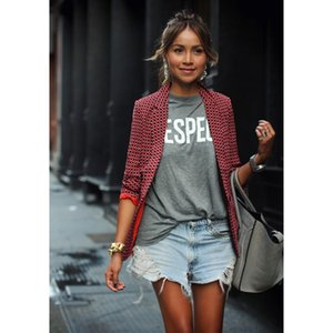 2018 Spring Woman Suit Jacket Fahion Plaid Suit Coat Long Sleeve Fashion Casual Ladies Red Plaid Long Sleeve Lapel Small Blazer