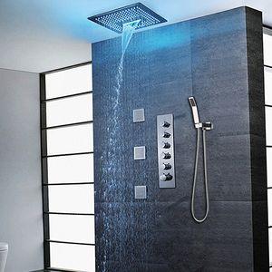 현대 욕실 샤워 세트 LED 천장 Recessed 큰 Showerhead 대형 비 폭포 안개 다기능 샤워 400 X 400 mm