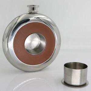 UPORS New 5 OZ de Aço Inoxidável Hip Flask Set Com 20 ml Copo Licor De álcool Whisky Vinho Bole Espelho Polido Couro Hip Flask