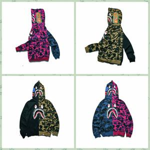 2017 خريف جديد نمط التجارة الخارجية الرجال ارتداء الإملائي لون القرش الفم الطباعة رقيقة سترة الرجال والنساء عشاق اللباس معطف فضفاض