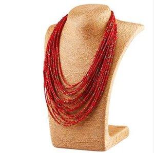 FU 6 색 보헤미아 스타일 20 레이어 턱받이 선언문 칼라 유리 페르시 목걸이 여성 패션 쥬얼리 도매