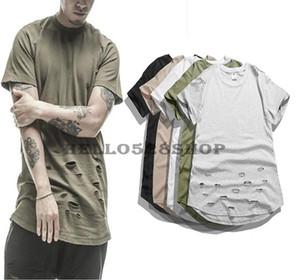 Moda Yeni Uzatılmış Katı Renk Tee Kanye Yüksek Streetwear Kısa Kollu Kişilik Delik Tasarım Ekip Boyun T-Shirt Erkekler için Vintage