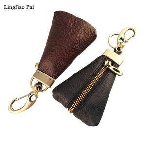 LingJiao Pai New Arrival Genuine Leather Key Holder Unisex Key Wallet 2 Colors Organizer Key Holder Car Housekeeper Wallet