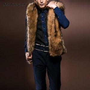 Al por mayor-brown faux abrigos de pieles para hombres 2017 invierno chaleco de piel chaleco de gran tamaño cálido sin mangas outwear para hombre abrigo de piel con capucha abrigo 5xl 3xl