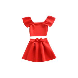 Miúdos Roupas Set Off Ombro Vermelho Verão Verão Bebê Roupas Para Roupas Meninas Criança Moda Tshirt Bow Skirt Novo
