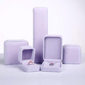 cadeaux violet flanelle boîte à bijoux de stockage de bijoux anneau collier boîte à bijoux cas cadeau d'anniversaire affichage 2018 emballage de bijoux en gros