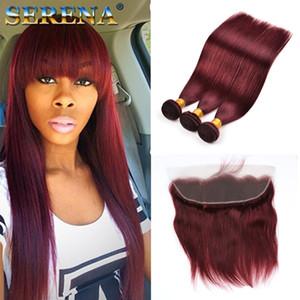 Burgundy Wine Red 99J Human Virgin Hair Weave Связка с закрывающим перуанским Straight с волосами младенца 13x4 фронтальных человеческих волос