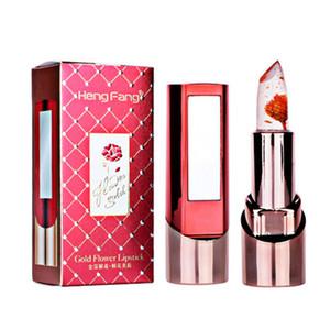 2017 Recién Llegado de Flor de Oro Jelly Lipstick Temperatura Cambió Lip Hidratante Labios Maquillaje Crystal Jelly Lipstick