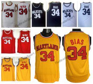 Mens Maryland Terps Len Bias College Camisetas de baloncesto # 34 Vintage Len Bias Northwestern Wildcats High School camisetas de baloncesto cosidas