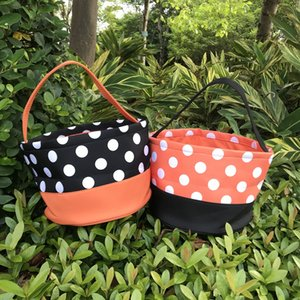 wholesale polka dots Halloween buckets polyester basket trick or treat kids candy bag orange black color
