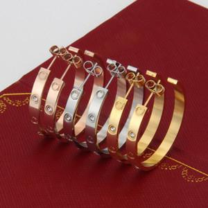 Marchio di vendita 2018 Marca moda in acciaio inox grandi orecchini a vite in argento rosa oro stud earrigns per gli amanti delle donne gioielli punk fresco
