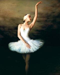 Bella giovane ragazza di balletto in gonna bianca di balletto Trasporto libero, pittura a olio dipinta a mano di arte del ritratto su multi dimensioni della tela p308