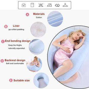Cuscino di sostegno per il sonno per le donne incinte Corpo Cuscino di maternità in cotone puro a forma di U Cuscino di maternità