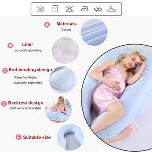 Dormir Apoio travesseiro para Gestantes corpo Pure Cotton fronha U Forma maternidade travesseiro gravidez Protector Side Sleeper
