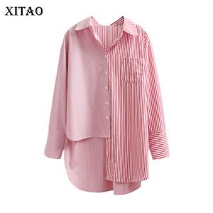 [XITAO] 2018 New Spring Corea Moda Donna monopetto irregolare lunghe camicette femminile a maniche lunghe a righe camicie CXB966