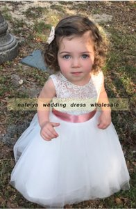 2018 маленький Childern кружева цветочница платье без рукавов цветы девушки платья с поясом / лук конкурс платья для юниоров
