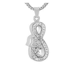 Infinity Love Cremation Urn Jewelry Impermeable Rhinestones Keepsake Urn Necklace Memorial Remains Pendant for Ashes Necklace + Funnel Kit