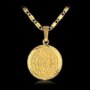 عملات 5PCS بالجملة الإسلام مسلم القديمة قلادة القلائد الذهبية اللون المال العربية تسجيل سلسلة الشرق الأوسط عملة عناصر المجوهرات هدية