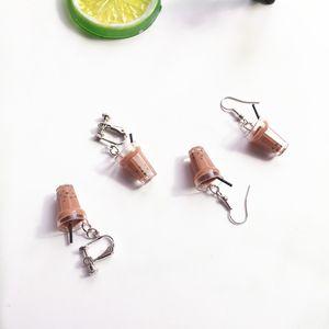 Kreative Blase Tee Ohrringe Harz Persönlichkeit Femme Schmuck 2 Farbe Geburtstag Weihnachtsgeschenke Perlglanz Milch Tee Ohrringe