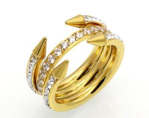 Nuova punta a quattro cerchi, diamante, tre anelli, anello in acciaio e titanio, gioielli in oro rosa e tippy di moda europea e americana