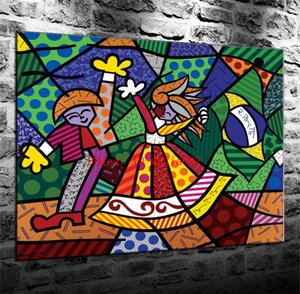 Colors of Brazil Romero Britto , Canvas Painting Living Room Home Decor Modern Mural Art Oil Painting