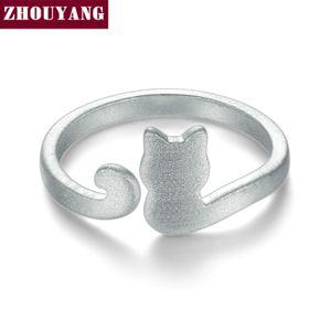 Intera venditaZHOUYANG Carino Wire Drawing Little Cat 925 Sterling Silver Anello Regolabile S925 Gioielli di Moda Regalo Creativo per la Ragazza RY002