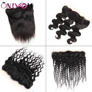 Onlyou Hair® İnsan Saç 13 * 4 dantel Frontal Kulak kulak Kinky Kıvırcık Derin Su Vücut Dalga Düz Brezilyalı Bakire Remy Saç Örgüleri Kapatma
