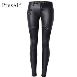 Nouveau Sexy Faux cuir taille haute Skinny Pantalons Stretch Jeans crayon Slim pantalons