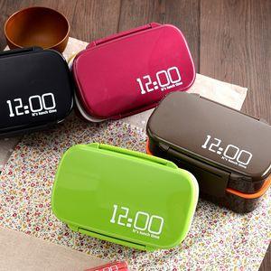 Caja de almuerzo de doble capa de plástico de alta capacidad a prueba de calor Caja de almuerzo de seguridad horno de microondas Bento Boxes Pure Colors 17 99sm BB