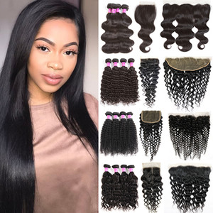 brazilian virgin hair body deep water wave kinky curly straight human hair weave bundles with lace closure frontal remy hair accessories