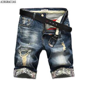 AIRGRACIAS New Fashion Uomo Strappato Jeans corti Marchio Abbigliamento Bermuda Estate 98% Cotone Pantaloncini Denim traspirante