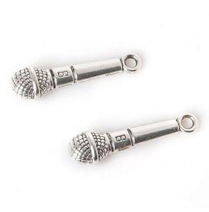 100 pçs / lote Ancient Silver Alloy Music Microfone Encantos Pingentes Para diy Jóias Fazendo achados 25x8mm