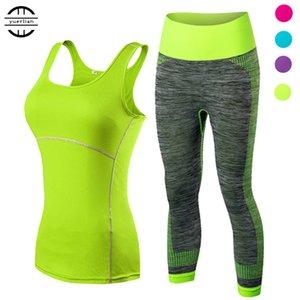 Yuerlian Bayanlar Spor Koşu Kırpılmış Üst 3/4 Tayt Yoga Gym Trainning Seti Giyim egzersiz spor kadınlar yoga takım Y1890306