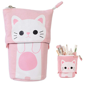 Transformer Stand Store Pencil Holder Canvas PU Cat Telescopic Pencil Pouch Bag Stationery Pen Case Box with Zipper Cartoon Design WJ032