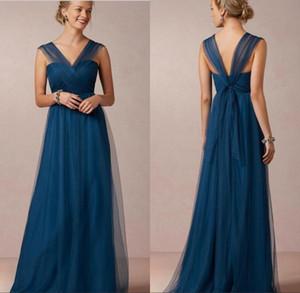 2020 Marine Bleu Pays Robes de mariée colonne Tulle col en V Plis longue robe de mariée de demoiselles d'honneur de mariage de Bohème BO5986