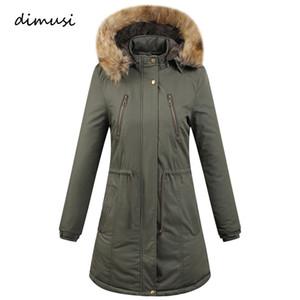 DIMUSI Hiver Femmes Vestes Coton Épais Chaud Long Parkas Lady Fax Col De Fourrure Coupe-Vent Hoodies Femmes Outwear Manteaux De Mode