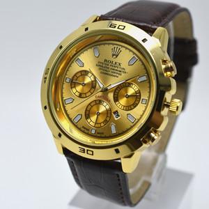 Reduziert Kleid 40mm Quarz Ledergürtel Goldgehäuse Herrenuhr Tag Datum Männer Designer-Uhr freie Verschiffen Geschenke Männer Armbanduhr drop