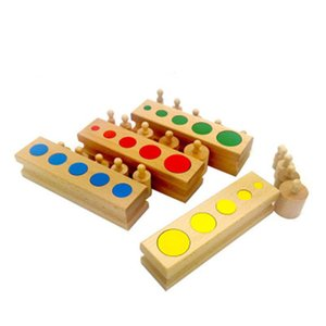 New Wooden Baby Toy Montessori Cylinder Blocks Toys 4 piece and Colorful Knotless Cylinders Wooden Baby Gifts