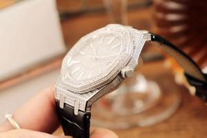 Элитные роскошные мужские часы. Случай с полным дизайном Диаманта. 9015 оригинальный cal3120 ультратонкий механизм с автоподзаводом. Нержавеющая сталь 316