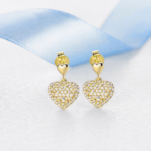 New Authentic 925 Sterling Silver Earring Shine Honeycomb Lace Studs Earrings For Women Wedding Party Gift Fine Europe Jewelry Making