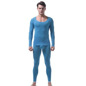 Long johns sexy Undershirt set Gauze transparent lace underwear Sexy shirts Mesh tight See througr suit Ice silk compression Gay