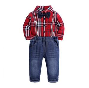 طفل بنين مجموعة ملابس الرجل المحترم البدلة الاطفال الأحمر القوس التعادل قميص منقوش + وزرة 2PCS الأطفال بوي تتسابق مجموعة