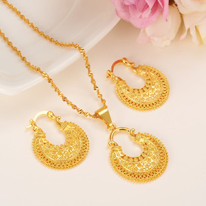 Ouro etíope conjunto de jóias colar de pingente de brinco moda dubai projeto ouro Nigéria mulheres meninas casamento conjunto de noiva encantos presente