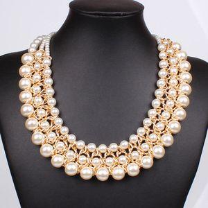 Trendy Classic Necklace Collar Multi Strand 3 Capas de Perlas de Cuentas Collares Moda Mujer Declaración Gargantilla Collar de Joyería