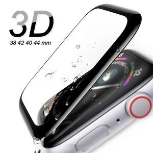 3D изогнутый край полное покрытие экрана закаленное стекло защитная пленка для Apple наблюдать iWatch 38мм 42мм 1/2/3/4 40мм, 44мм без упаковки