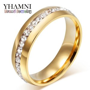 YHAMNI Fine Jewelry Never Fade Pure Gold Color 316l Stainless Steel Ring Titanium Steel CZ Diamant Engagement Wedding Ring R05S Y1891205