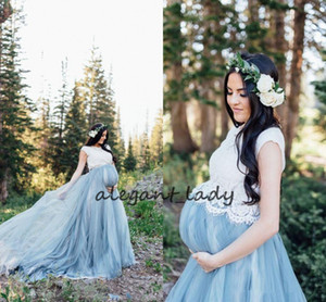 Cheap Blue White Country Wedding Dresses Vintage Maternity Wedding Dresses Tulle Floor Length Lace Bohemian Wedding Dress Custom Berta Brida
