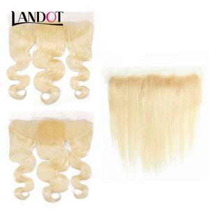 Eau de Javel Blonde Couleur 613 Brésilienne Vierge de Cheveux Humains Dentelle Frontale Fermeture 13x4 Taille Péruvienne Indien Malaisien Vague de Corps Droite Top Fermetures