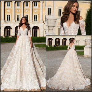 2019 Retro Vintage Lace Vestido De Novia Half Long Sleeve A Line V Neck with Appliques Angelina Bridal Gowns Robe De Mariage Custom