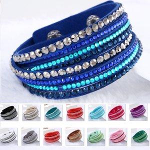Nuevas pulseras del abrigo de múltiples capas de la manera Slake lujo brazaletes del encanto de cuero con cristal chispeante mujeres playa de arena regalo de la joyería fina